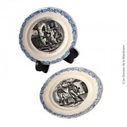 """2 assiettes à dessert HB et Cie Choisy le Roi XIX°, Medaille D'or, motif """"Le language des fleurs"""""""