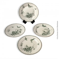 4 Assiettes Faïences Porcelaines Cristaux -  Grand Dépôt - E. Bourgeois, Paris Marseille. French Antique