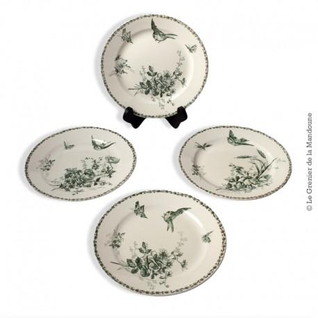 4 Assiettes Faïences Porcelaines Cristaux -  Grand Dépôt - E. Bourgeois, Paris Marseille. French Antique