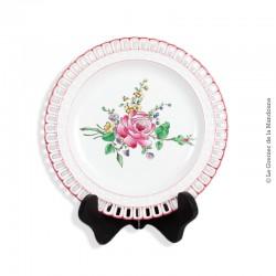 Assiette ajourée en faïence  de Lunéville Collection CHINA, décor rose 1889