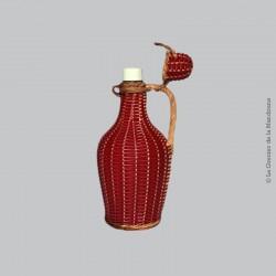Ancienne bouteille tressé rouge en scoubidous, années 70 vintage. Anse Rotin