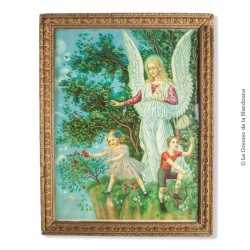 Chromolithographie L'ANGELO CUSTODE - SCHUTZENGEL vers 1900 Encadrée. Guardian Angel vintage