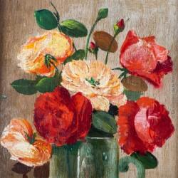 Nature morte aux fleurs huile sur bois, signé E. FONCIER