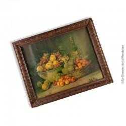 Chromolithographie nature morte aux fruits signée J. Bubel. Cadre ancien