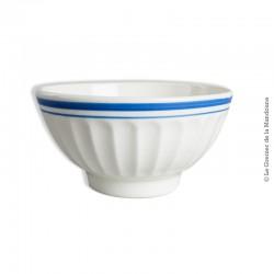 Old Bowl. Bol blanc liseré bleu