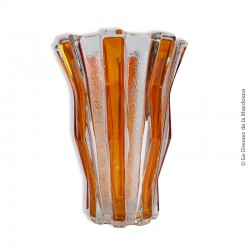 Vase vintage lignes oranges et transparentes