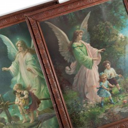 2 Chromolithographies l'Ange gardien vers 1900, sous verre et encadrée, 50 x 47 cm