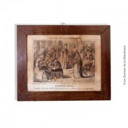 Le Tribunal Injuste. Nouvelle imagerie d'Épinal, litho noir & blanc. Sous verre et encadrée, 42 x 34 cm