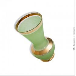 Vase en verre granité vert et or vintage