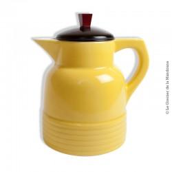 Ancien pichet, pot, tisanière, théière en faïence jaune avec son couvercle filtre 1L