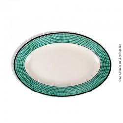 Plat ovale en faïence fine de Niderviller, marli vert d'eau, rebord noir