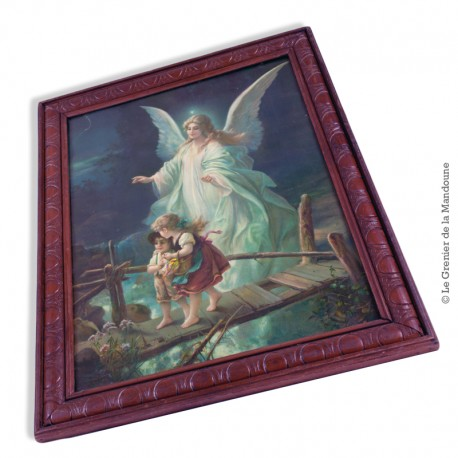 1 Chromolithographie  l'Ange gardien vers 1900, sous verre et encadrée, 50 x 47 cm