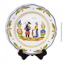 Assiette Kéraluc Quimper, décor Bretons, Peint Main