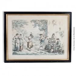 Gravure Eau forte  «Saltarello Romano» signée Pinelli 1809, sous verre et encadrée