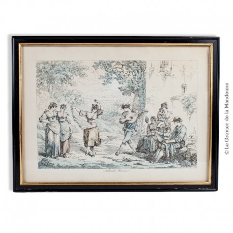 Gravure Eau forte  «Saltarello Romano» signé Pinelli 1809