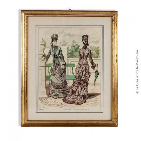 Gravure de mode (robes à crinoline), eau-forte en couleur sur acier vers 1880 par Guido Gonin,  sous verre et encadrée