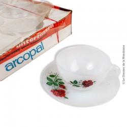 6 tasses avec soucoupes vintage ARCOPAL décor de Roses dans son emballage d'origine