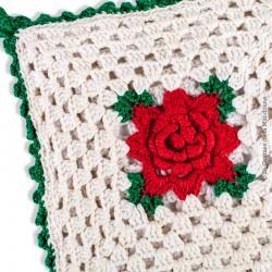 Manique en coton crochet, fait à la main vintage, décor rose rouge