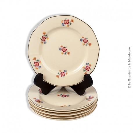 6 Assiettes à dessert anciennes, Importé de Tchécoslovaquie 221, motif petites fleurs liseré argenté