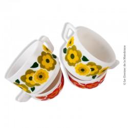 Lot de 4 tasses vintage Arcopal motifs fleur de lotus