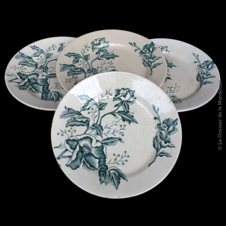 Lot de 4 assiettes fa ence ancienne rose de no l fl for Faience ancienne cuisine