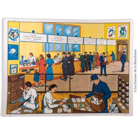 Affiche scolaire vintage N° 17 LE VILLAGE & N° 18 A LA POSTE - V. 2 - Éditions M.D.I