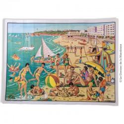 Affiche scolaire vintage N° 31 A LA PLAGE & N° 30 L'ÉTÉ, LA MOISSON  - V. 3 - Éditions M.D.I. signé R. Bresson