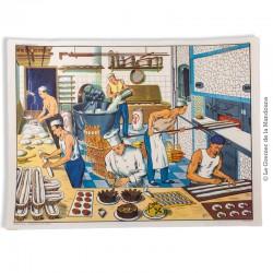 Affiche scolaire vintage N° 13 CHEZ LE COIFFEUR & N° 14 CHEZ LE BOULANGER - V. 2 - Éditions M.D.I