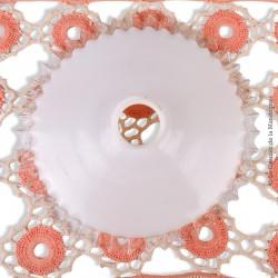 Abat-jour ancien Opaline blanche dentelée transparente, 27,2 cm