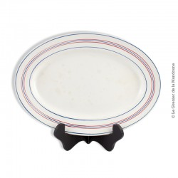 Plat ovale CERANORD St AMAND, Made in france, F. décor lignes bleu & rouge. French Antique