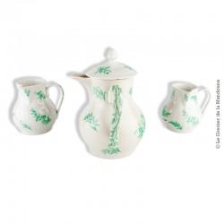 Pichet à lait avec son couvercle et 2 petits pots à crème,  St Uze, motifs verts