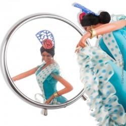 Le Grenier de la Mandoune. Ancien Miroir de barbier rond grossissant vintage