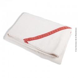 Nappe ancienne Lin épais à galons rouge,  200 cm x 144 cm