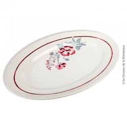 Le Grenier de la Mandoune. Plat oval PEXONNE, Manufacture de Porcelaine Opaque F.F. Modèle JUILLET B Made in France