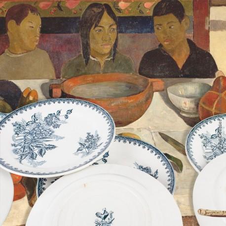 Le Grenier de la Mandoune. Lot de 8 Assiettes plates Ste Amandinoise St Amand Margot XIXè 19è siècle