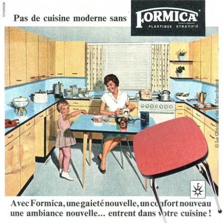 Le Grenier de la Mandoune. Tabouret Formica mint rouge vintage 1950/1960