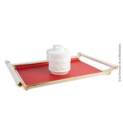 Le Grenier de la Mandoune. Plateau de service rouge or et blanc Vintage en skaï