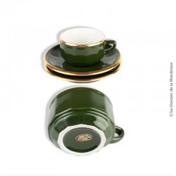 Paire de tasses à café Bistrot Yves Deshoulières APILCO, vert Empire et or. Green & Gold bistroware