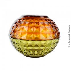 Le Grenier de la Mandoune. 2 saladiers vintage en verre transparent à facettes orange & vert