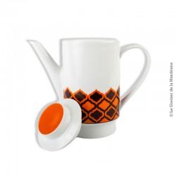 Le Grenier de la Mandoune. Cafetière, Verseuse vintage MELITTA, porcelaine. Motif : orange et chocolat. Germany
