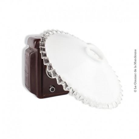 Abat-jour ancien Opaline blanche dentelée transparente, 25 cm