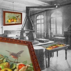 Le Grenier de la Mandoune. Chromolithographie nature morte aux fruits & rouge gorge. Cadre ancien