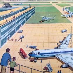 Affiche scolaire vintage N° 21 EN AVION & N° 20bis LES TRAVAUX PUBLICS V. 2 - Éditions M.D.I