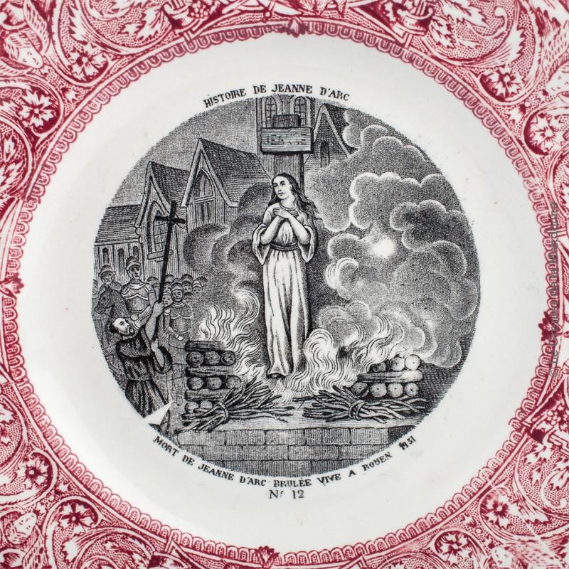 Fabuleux Lot de 2 Assiettes Anciennes Gien - Jeanne D'arc - 1886- 1938 QW54
