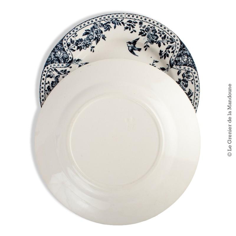 2 assiettes anciennes en fa ence d cor 3 hirondelles marli fleurs bleues h2. Black Bedroom Furniture Sets. Home Design Ideas