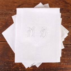 8 Serviettes de tables anciennes Damas à décor fleuri et géométrique monogramme MB. Linge de Table french antique