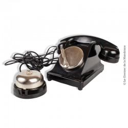 Ancien téléphone des PTT France en bakélite noir sans cadran déco avec sonnette