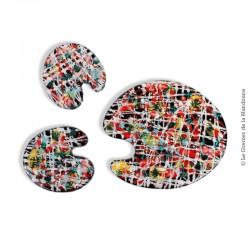 Le Grenier de la Mandoune. Dessous de plat avec 2 dessous bouteilles, céramique vintage en forme palette de peintre