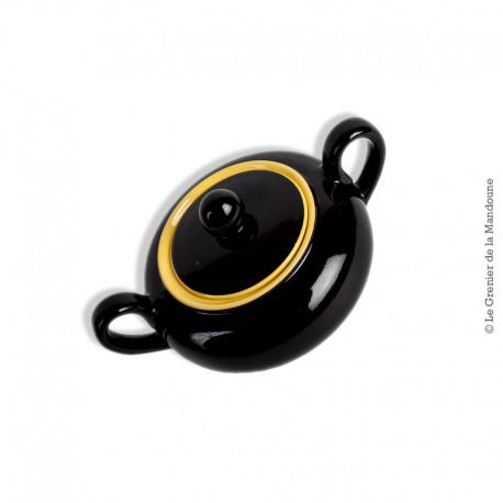 Le Grenier de la Mandoune. Sucrier céramique noir et jaune Villeroy & Boch. Années 50/60