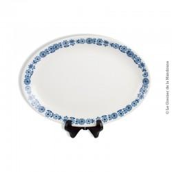 Le Grenier de la Mandoune. Grand plat ovale LUNÉVILLE KG TRADITION France, Modèle Blue Flowers. French Antique